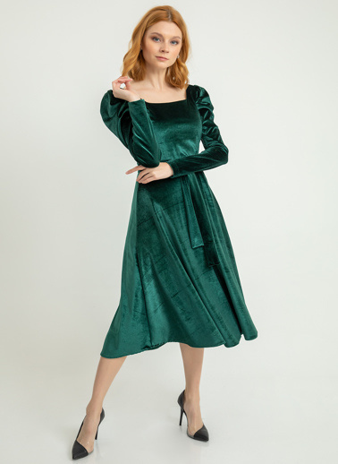 Foremia Karpuz Kol İnci Kadife Elbise Yeşil